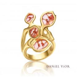 Ring LUNARIA Pink enamel (Ag.925/Au 5 mic.)