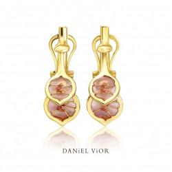 Earrings LUNARIA Pink enamel (Ag.925/Au 5 mic.)