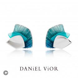 Earrings ALULA IMBRICATA Turkis Agate Green enamel (Ag.925)
