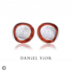 Earrings CIRCIS Red enamel (Ag.925