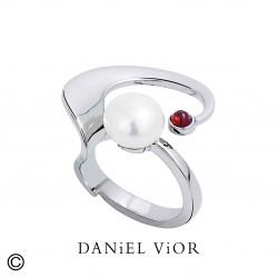Anell ANCYLA Perla blanca/Granat (Ag.925)