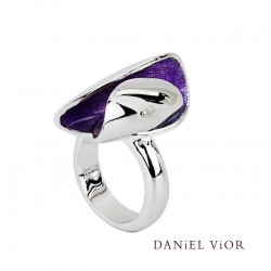 Anell ELITRO Esmalt violeta (Ag.925)