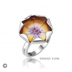Anillo LOTO Esmalte naranja/violeta (Ag.925)