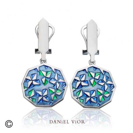 Earrings KIRIGAMI Blue/green enamel (Ag.925)