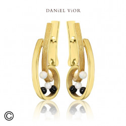 Earrings QUIAS O Synthetic Opal/Onyx (Ag.925/Au 5 mic.)