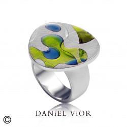 Ring PSICODELIA 1 Green/blue enamel (Ag.925)