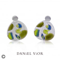Earrings PSICODELIA 1 Green/blue enamel (Ag.925)