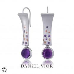 Pendientes EO Amatista Esmalte violeta/ambar (Ag.925)