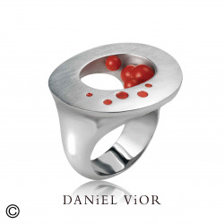 Ring OFUGO Synthetic Coral Red Enamel S (Ag.925)