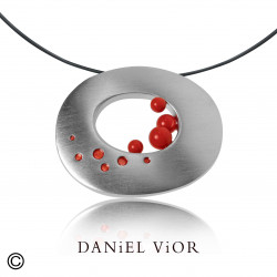Pendant OFUGO Synthetic Coral Red Enamel S (Ag.925)