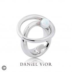 Anell ORBIT Opal sint.Blanc (Ag.925)