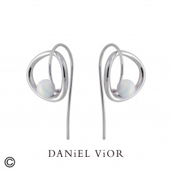 Earrings ORBIT White Synthetique Opal (Ag.925)