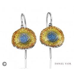 Earrings BASIA SOLARIS Yellow/blue enamel (Ag.925)