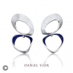 Earrings SIPHO Blue enamel R (Ag.925)