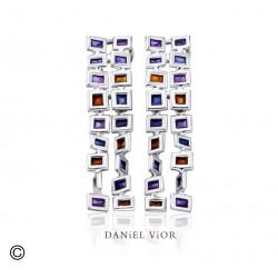 Pendientes CUADROS Esmalte violeta (Ag.925)