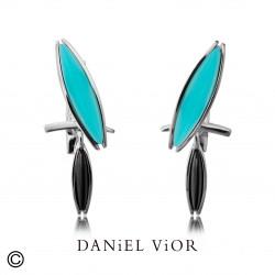 Earrings LOXIAS Agate turkis/Onyx (Ag.925)