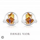 Earrings INTERSECCIONS Orange/Brown enamel (Ag.925)