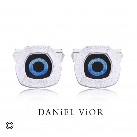 Cufflinks NUCLI Black/blue enamel (Ag.925)
