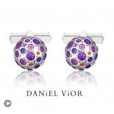 Botons de puny OANTOS Esmalt violeta (Ag.925)