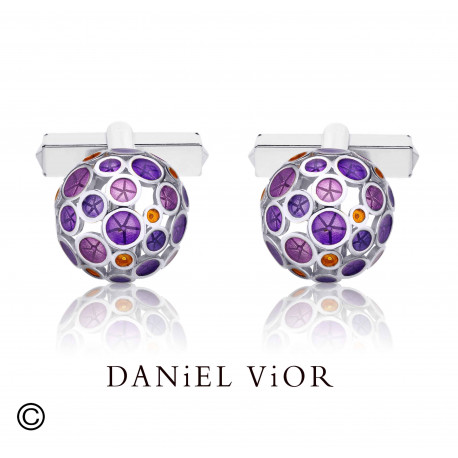 Cufflinks OANTOS Violet enamel (Ag.925)