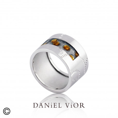 Ring NORIN Orange/grey enamel S (Ag.925)