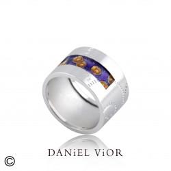 Ring NORIN Violet/orange enamel S (Ag.925)