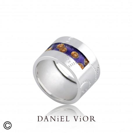 Anell NORIN Esmalt violeta/taronja S (Ag.925)
