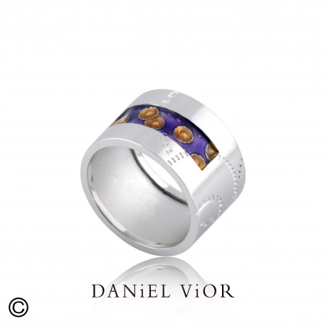 Ring NORIN Violet/orange enamel S (Ag.925)