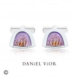 Botons de puny CAPIL·LARS Esmalt violeta/taronja (Ag.925)