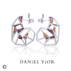 Earrings CLINOLITA Violet/orange enamel (Ag.925)