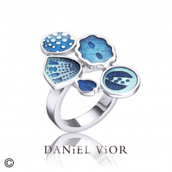 Ring DIATOMEAS Blue enamel (Ag.925)