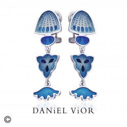 Pendientes DIATOMEAS Esmalte azul (Ag.925)