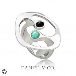 Anillo DILENDE Opalo sint.verde/Onix (Ag.925)