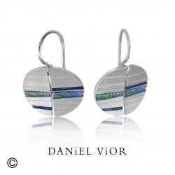 Earrings DIPTIC Blue/green enamel (Ag.925)