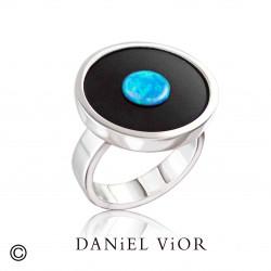 Anillo MOON Onix/Opalo sint.azul (Ag.925)