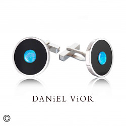 Botons de puny MOON Onix/Opal sint.blau (Ag.925)