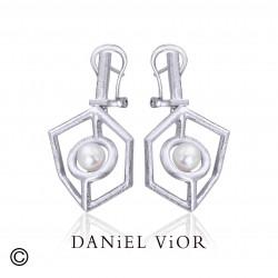 Earrings CUB White Pearl (Ag.925)