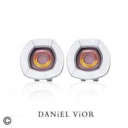 Earrings NUCLI Brown/red enamel (Ag.925)