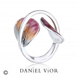 Anell TAVELLA Esmalt violeta/taronja (Ag.925)