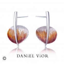 Earrings TAVELLA Violet/orange enamel (Ag.925)