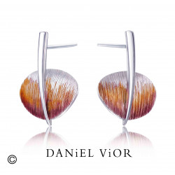 Pendientes TAVELLA Esmalte violeta/naranja (Ag.925)