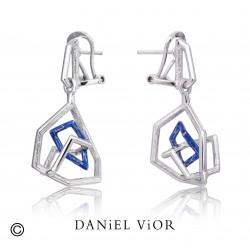 Earrings TRIADA Blue enamel (Ag.925)