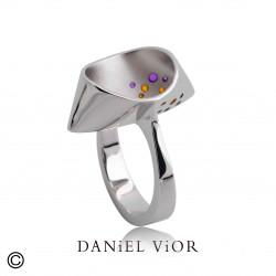 Ring CUCULLA Orange/violet enamel (Ag.925)