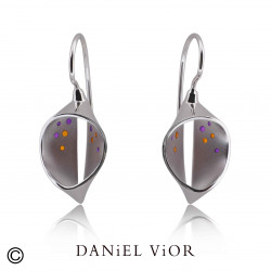 Arracades CUCULLA Esmalt taronja/violeta (Ag.925)